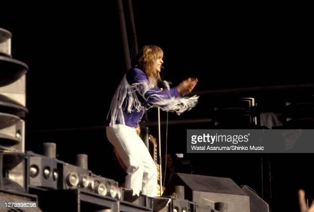 Ozzy Osbourne performs on stage at Heavy Metal Holocaust, Port Vale Football Stadium, Stoke-on-Trent, United Kingdom, 1st August 1981.