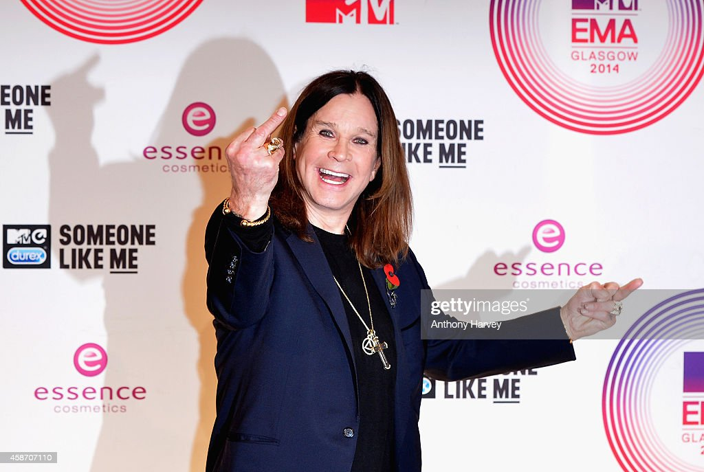 Ozzy Osbourne poses in the winners room at the MTV EMA's 2014 after winning the Global Icon award at The Hydro on November 9, 2014 in Glasgow, Scotland.
