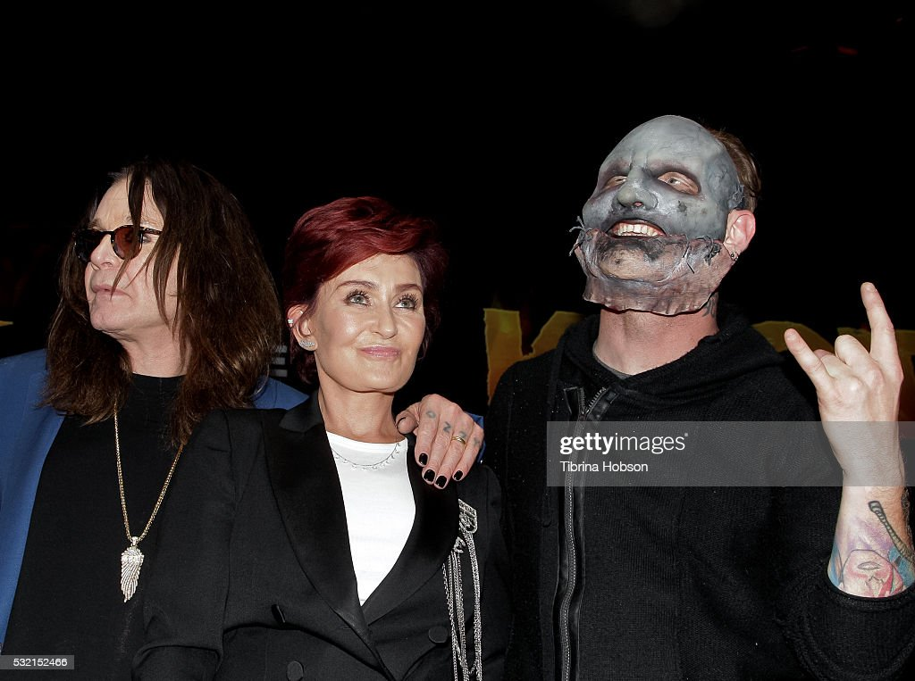 Ozzy Osbourne, Sharon Osbourne and Corey Taylor attend the Ozzy Osbourne and Corey Taylor special announcement press conference on May 12, 2016 in Hollywood, California.