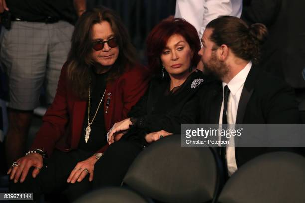 Ozzy Osbourne Sharon Osbourne and Jack Osbourne attend the super welterweight boxing match between Floyd Mayweather Jr and Conor McGregor on August...