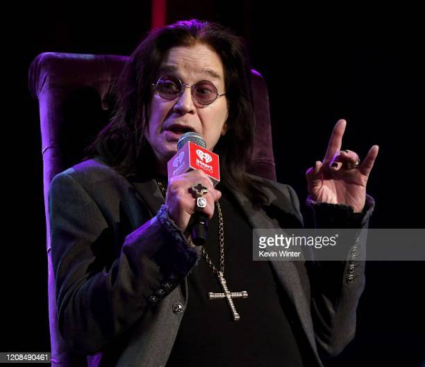 Ozzy Osbourne speaks onstage at iHeartRadio ICONS with Ozzy Osbourne: In Celebration of Ordinary Man at iHeartRadio Theater on February 24, 2020 in...