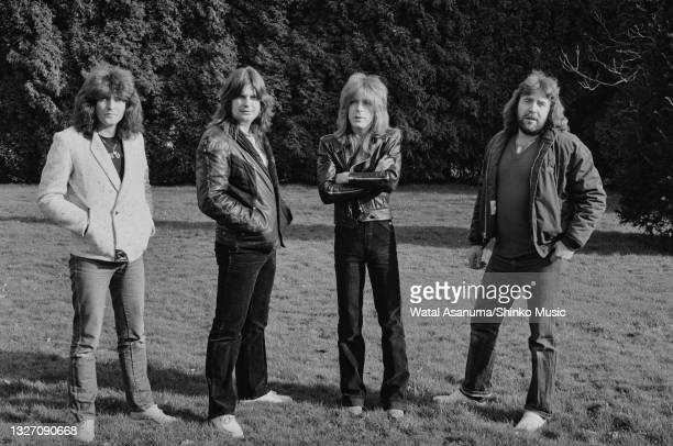 Ozzy Osbourne with his band at Ridge Farm Studios during the recording of his album 'Diary Of A Madman', Surrey, United Kingdom, March 1981. L-R Bob...
