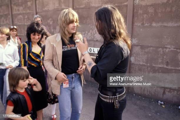 Ozzy Osbourne with Lemmy from Motorhead, backstage at Heavy Metal Holocaust, Port Vale Football Stadium, Stoke-on-Trent, United Kingdom, 1st August...