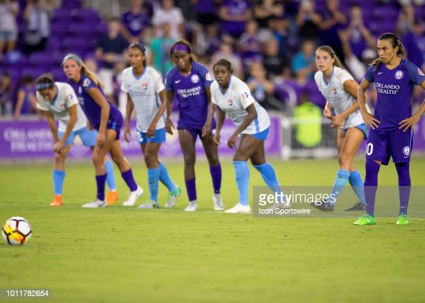 p10 easy to take a PK during the NWSL soccer match between the Orlando Pride and New Jersey Sky Blue FC on August 5th 2018 at Orlando City Stadium in...