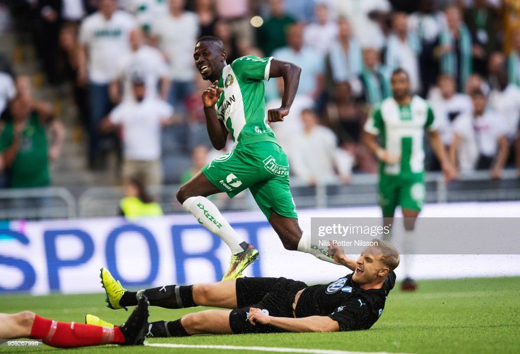 Pa Amat Dibba of Hammarby celebrates after scoring to 3-2 during the Allsvenskan match between Hammarby IF and Malmo FF at Tele2 Arena on May 16, 2018 in Stockholm, Sweden.