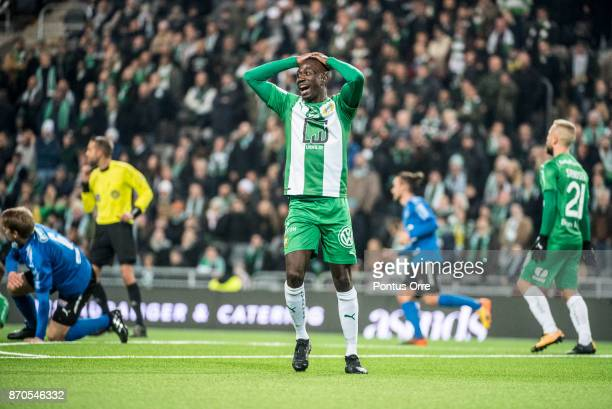 Pa Amat Dibba of Hammarby IF looks dejected after a missed scoring chance during the Allsvenskan match between Hammarby IF and Halmstad BK at Tele2...