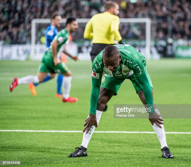 Pa Amat Dibba of Hammarby IF looks dejected after missed scoring chance during the Allsvenskan match between Hammarby IF and Halmstad BK at Tele2...