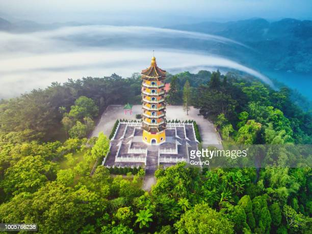 pa cien pagoda with sun moon lake, nantou, taiwan - taiwan stock pictures, royalty-free photos & images