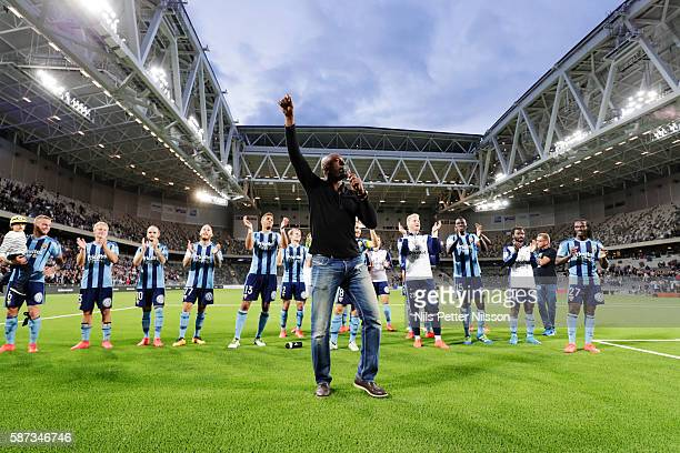 Pa Dembo Touray and players of Djurgarden celebrates after the victory during the allsvenskan match between Djurgardens IF and IFK Goteborg at Tele2...