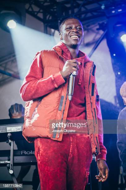 Pa Salieu performs on the Alternative stage during Reading Festival 2021 at Richfield Avenue on August 29, 2021 in Reading, England.