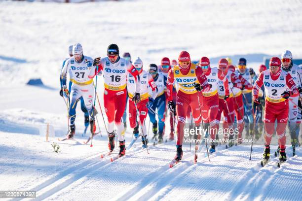 Paal Golberg of Norway takes third place during the Men's 15km C at the Coop FIS Cross-Country World Cup Falun at on January 30, 2021 in Falun,...