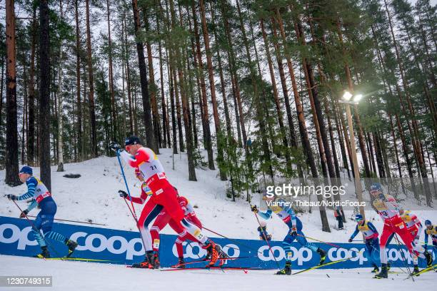 Paal Golberg of Norway takes third place during the Men's Skiathlon 15/15km C/F at the Coop FIS Cross-Country World Cup Lahti at on January 23, 2021...
