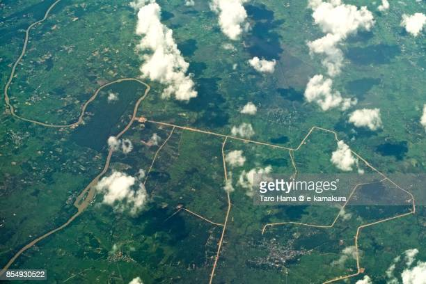 pa-ao in ubon ratchathani in thailand daytime aerial view from airplane - pa'ao stock pictures, royalty-free photos & images