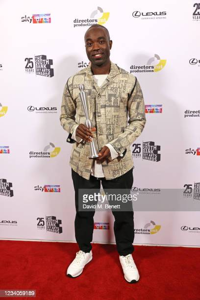 """Paapa Essiedu, accepting the award for TV Drama for """"I May Destroy You"""", poses in the winners room at the South Bank Sky Arts awards at The Savoy..."""