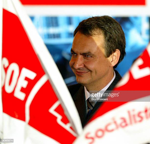 Paartido Socialista Obrero Espanol party leader Jose Luis Rodriguez Zapatero takes to the stage of the party headquarters and claims victory in...