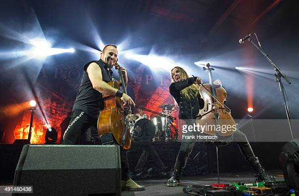 Paavo Loetjoenen and Perttu Kivilaakso of Apocalyptica perform live during a concert at the Columbiahalle on October 5 2015 in Berlin Germany