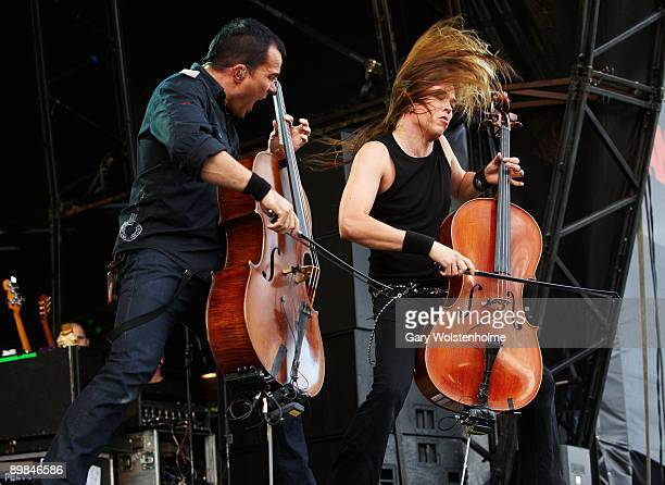 Paavo Lotjonen and Eicca Toppinen of Apocalyptica performs on stage on the second day of Bloodstock Open Air festival at Catton Hall on August 15...