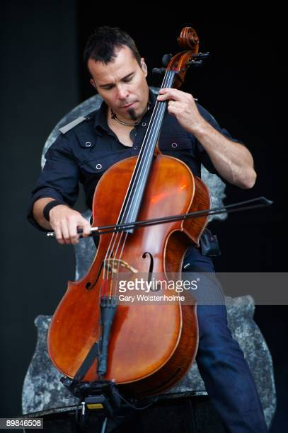Paavo Lotjonen of Apocalyptica performs on stage on the second day of Bloodstock Open Air festival at Catton Hall on August 15 2009 in Derby England