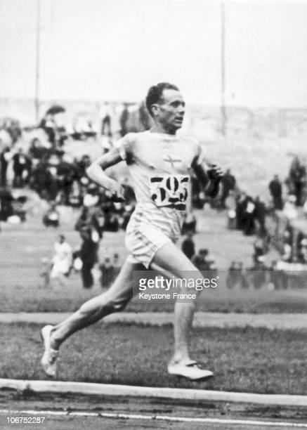 Paavo Nurmi In Action During The 15,000 Meter Running Event Of The 1924 Olympic Games At Paris. He Was One Of The Four Athletes To Win Nine Gold...