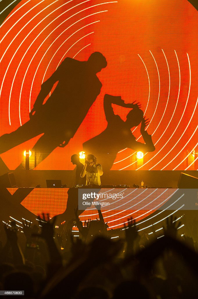 Paavo Siljam and Jono Grant of Above and Beyond perform on stage during the first of two soldout night at Brixton Academy on April 3, 2015 in London, United Kingdom.