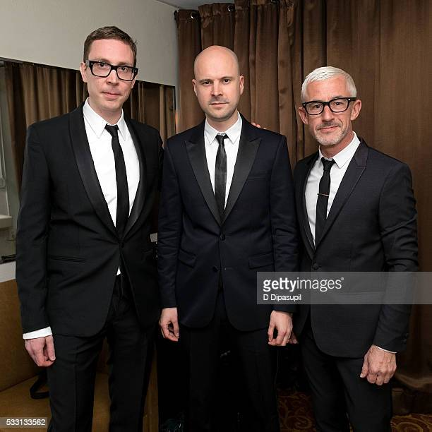 Paavo Siljamaki Jono Grant and Tony McGuinness of Above Beyond pose backstage before their performance at The Beacon Theatre on May 20 2016 in New...