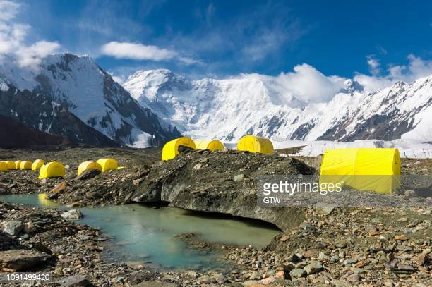 pabeda-khan tengry glacier massif, view from base camp, central tien shan mountain range, border of kyrgyzstan and china, kyrgyzstan - tien shan mountains stock pictures, royalty-free photos & images