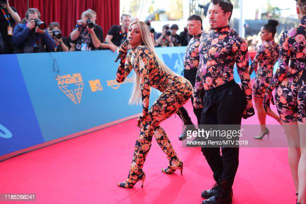 Pabllo Vittar and dancers perform on stage during the red carpet of the MTV EMAs 2019 at FIBES Conference and Exhibition Centre on November 03 2019...