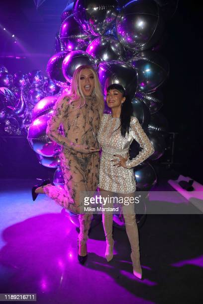 Pabllo Vittar and Nicole Scherzinger during the GAY TIMES Honours 500 at Magazine London on November 21 2019 in London England
