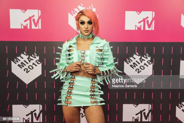 Pabllo Vittar attends the MTV MIAW 2018 at Citibank Hall on May 23 2018 in Sao Paulo Brazil