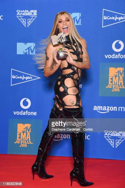 Pabllo Vittar in the winner room during the MTV EMAs 2019 at FIBES Conference and Exhibition Centre on November 03 2019 in Seville Spain