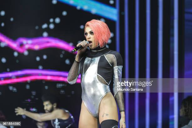 Pabllo Vittar performs live on stage during the MTV MIAW 2018 at Citibank Hall on May 23 2018 in Sao Paulo Brazil
