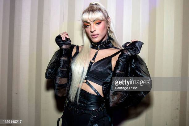 Pabllo Vittar poses photos backstage during Ladyland Festival at Avant Gardner on June 29 2019 in Brooklyn New York