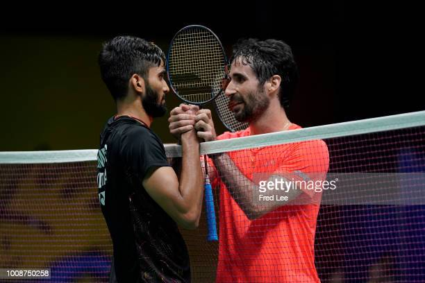 Pablo Abian of Spain celebrates winning a point against Kidambi Srikanth of India in their Men's singles match during the day three of Total BWF...