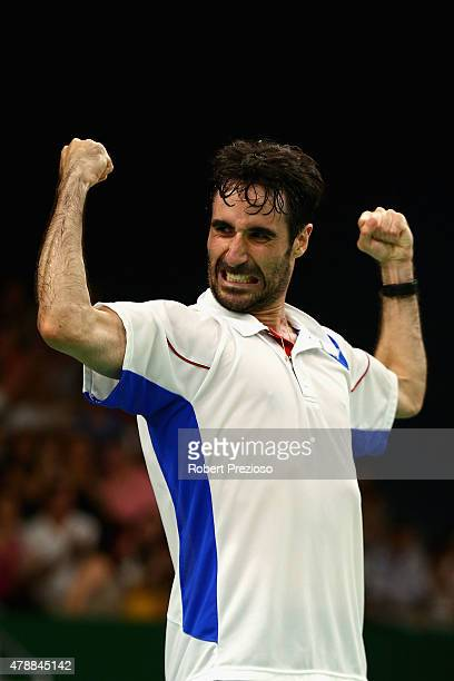 Pablo Abian of Spain celebrates winning the match against Emil Holst of Denmark in the Badminton Men's Singles Final during day sixteen of the Baku...