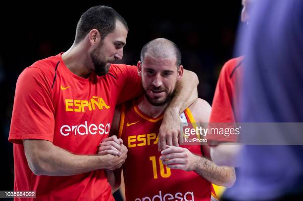 Pablo Aguilar and Joaquin Colom of Spain during the FIBA Basketball World Cup Qualifier match Spain against Latvia at Wizink Center in Madrid Spain...