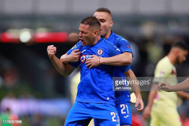 Pablo Aguilar of Cruz Azul celebratess after scoring the first goal of his team during the 13th round match between Cruz Azul and America as part of...