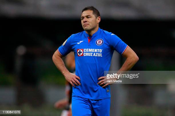 Pablo Aguilar of Cruz Azul lament during a match between Cruz Azul and Alebrijes as part of the Copa MX Clausura 2019 at Azteca Stadium on February...