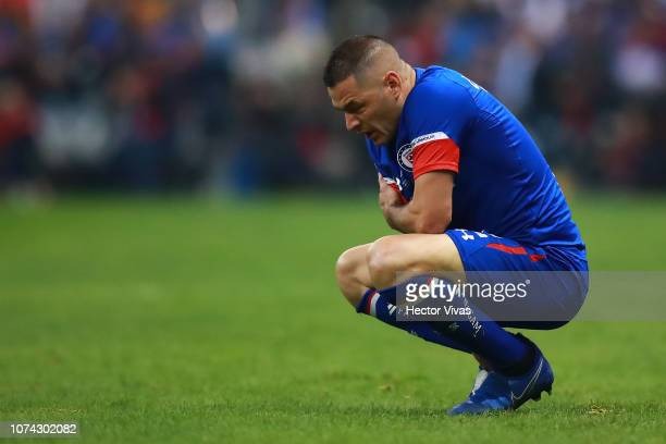 Pablo Aguilar of Cruz Azul reacts during the final second leg match between Cruz Azul and America as part of the Torneo Apertura 2018 Liga MX at...