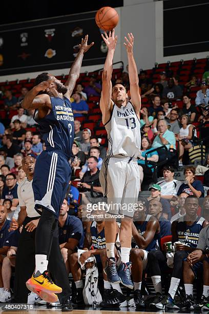 Pablo Aguilar of the Dallas Mavericks shoots the ball against Victor Rudd of the New Orleans Pelicans on July 11 2015 at the Cox Pavilion in Las...