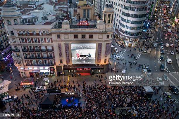 Pablo Alboran and Ava Max perform on stage during 'Tabu' videoclip presentation at Callao square on November 06 2019 in Madrid Spain
