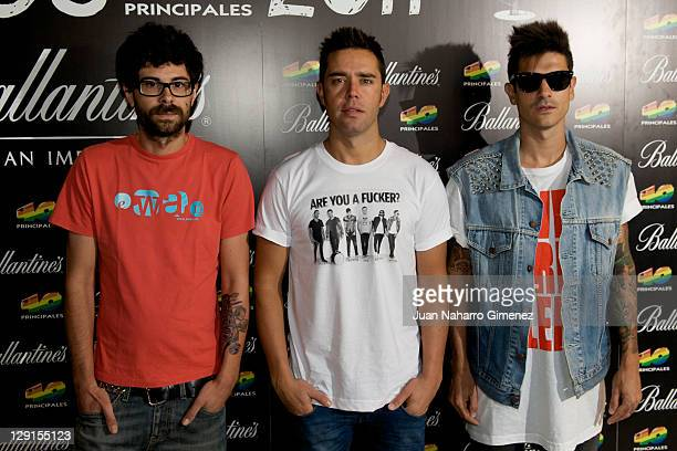 Pablo Alonso Héctor Polo and Álvaro Benito of music group Pignoise attends to the candidates for 40 Principales Award 2011 Presentation at 40 Cafe on...