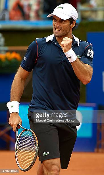 Pablo Andujar of Spain celebrates a point against Leonardo Mayer of Argentina during day three of the Barcelona Open Banc Sabadell at the Real Club...