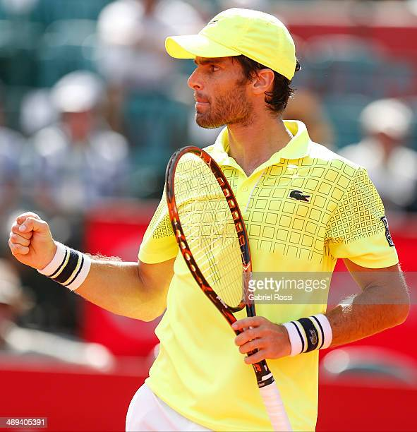 Pablo Andujar of Spain celebrates a point during a tennis match between Fabio Fognini and Pablo Andujar as part of ATP Buenos Aires Copa Claro on...