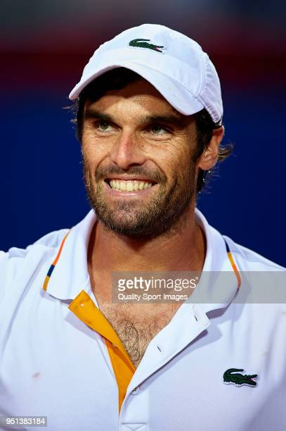 Pablo Andujar of Spain celebrates against Bjorn Fratangelo of the United States in their match during day three of the ATP Barcelona Open Banc...