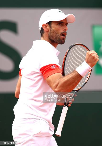 Pablo Andujar of Spain celebrates in his mens singles first round match against Matteo Berrettini of Italy during Day one of the 2019 French Open at...