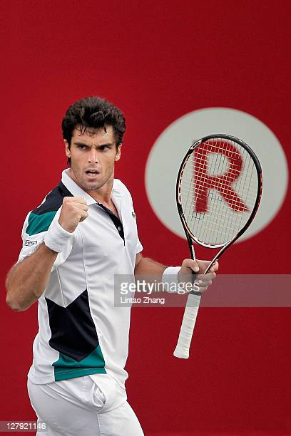 Pablo Andujar of Spain celebrates winning a shot against Matthew Ebden of Australia during the day one of the Rakuten Open at Ariake Colosseum on...