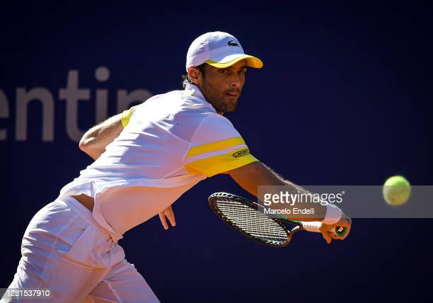 Pablo Andujar of Spain hits a backhand during a match against Francisco Cerundolo of Argentina as part of day 5 of ATP Buenos Aires Argentina Open...