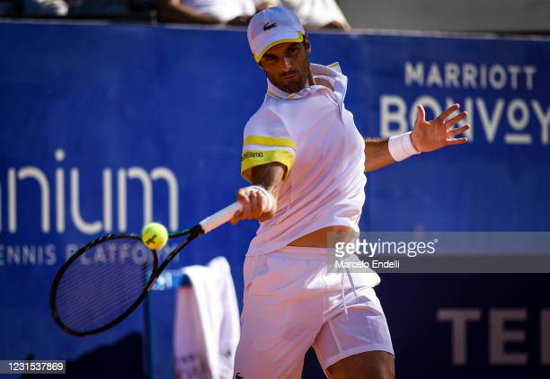 Pablo Andujar of Spain hits a forehand during a match against Francisco Cerundolo of Argentina as part of day 5 of ATP Buenos Aires Argentina Open...