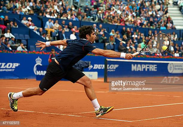 Pablo Andujar of Spain in action against David Ferrer of Spain during day six of the Barcelona Open Banc Sabadell at the Real Club de Tenis Barcelona...