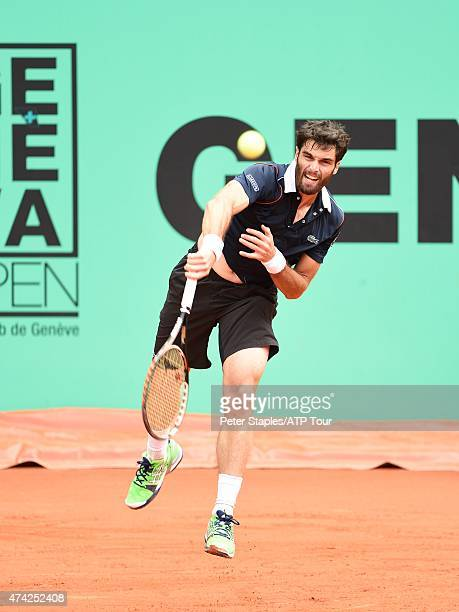 Pablo Andujar of Spain in action during this match against Joao Sousa of Portugal at the Geneva Open Parc des EauxVives on May 21 2015 in Geneva...